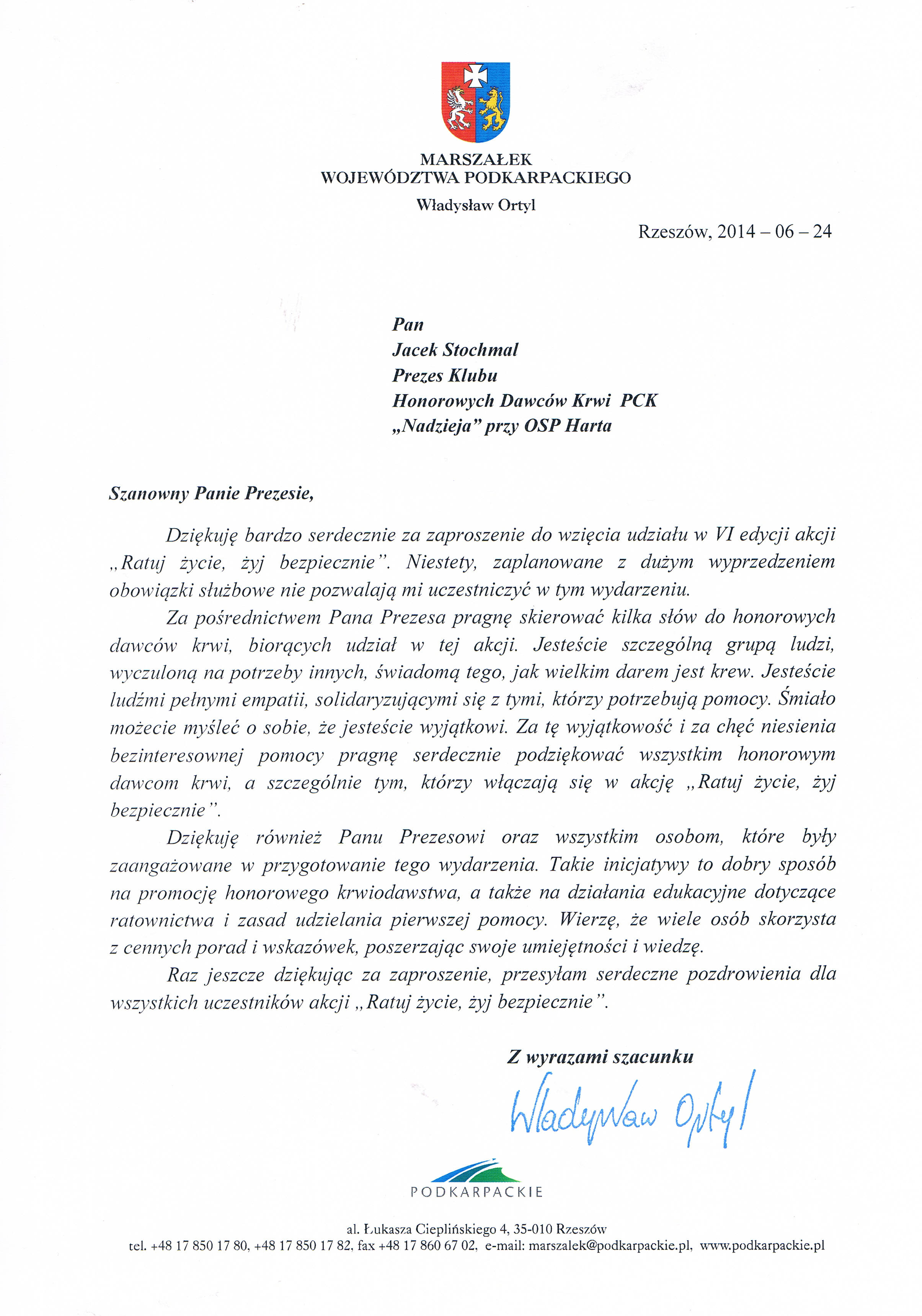 Podziękowanie od Marszałka Województwa Podkarpackiego